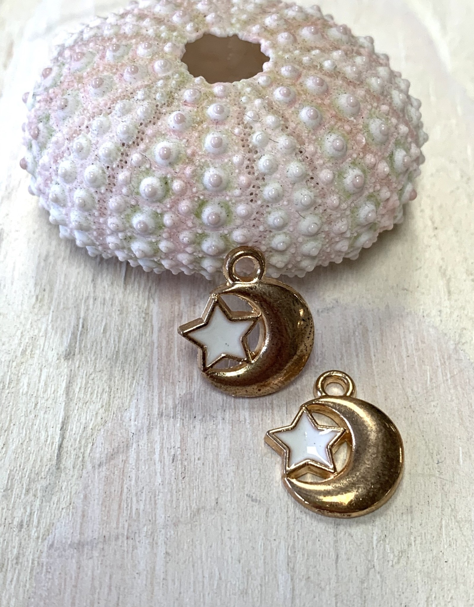 Star & Moon Charm, Gold Plated ea