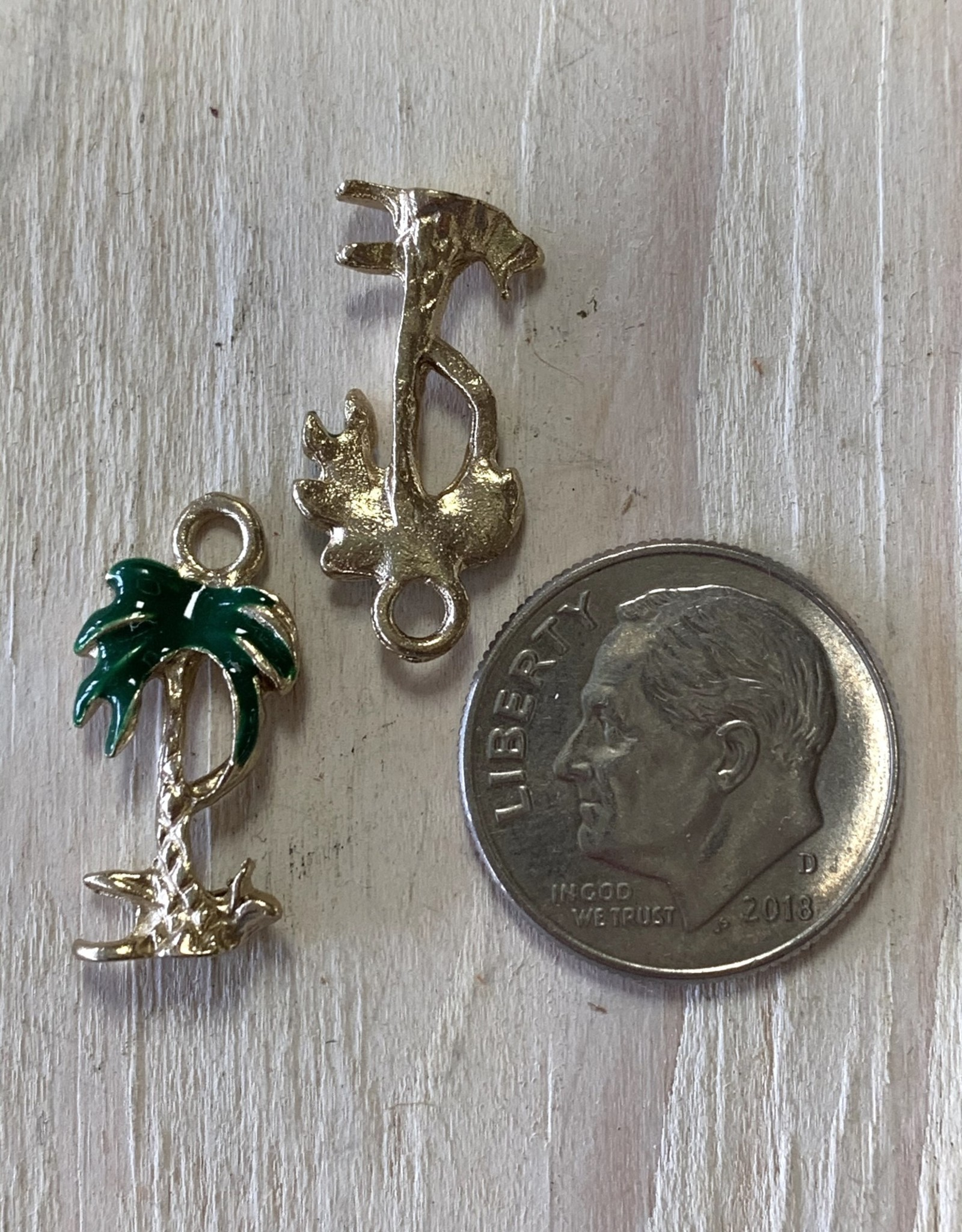 Coconut Tree Dark Green Enamel Charm ea