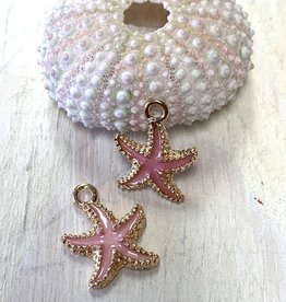 Pink Starfish Charm Gold Plated ea