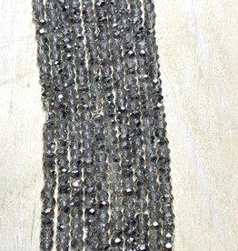 3mm Silver Sparkle Gem Show Crystal Roundel Strand