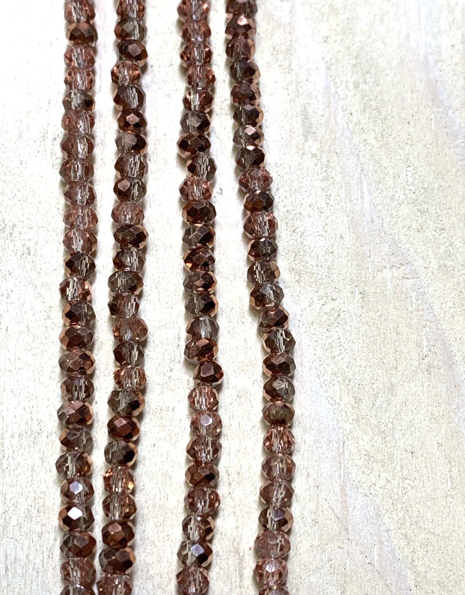 3mm Copper Sparkle Gem Show Crystal Roundel Strand