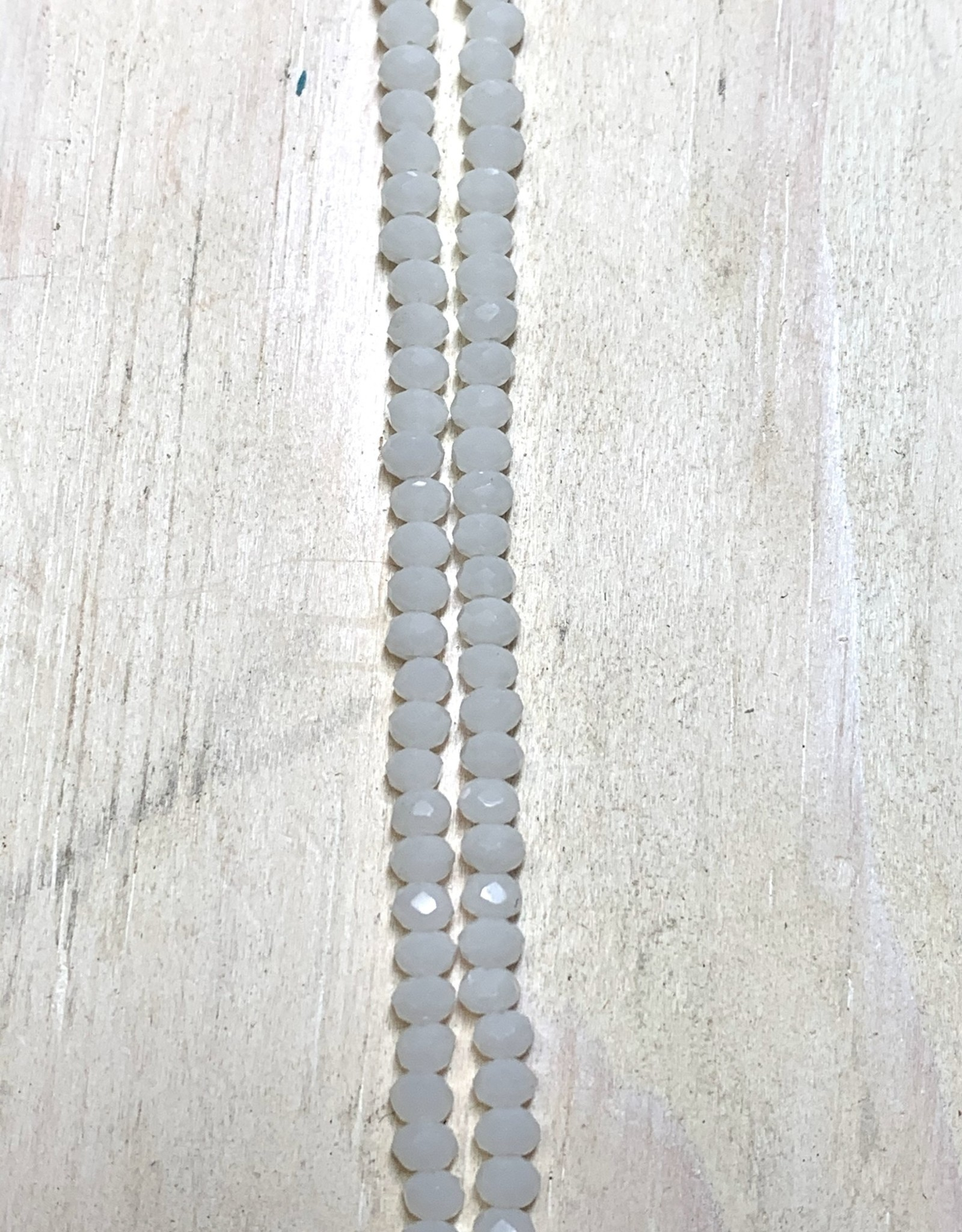 3mm Opaque White Gem Show Crystal Roundel Strand