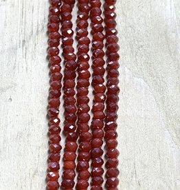 3mm Cranberry Gem Show Crystal Roundel Strand