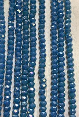 3mm Opaque Pacific Blue AB Gem Show Crystal Roundel Strand