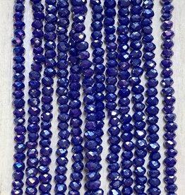 3mm Dark Blue Gem Show Crystal Roundel Strand