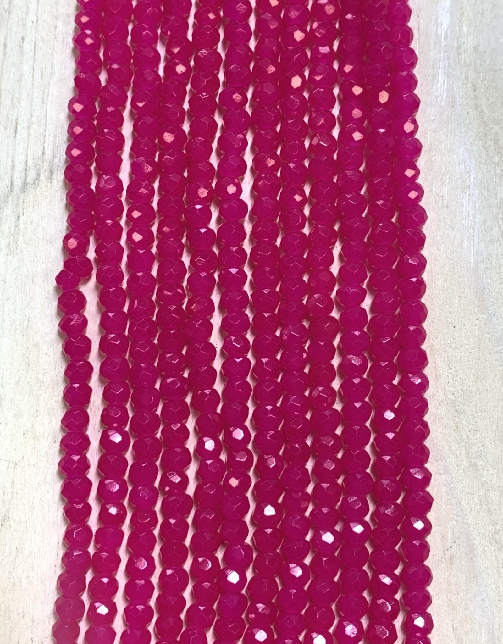 3mm Hot Pink Gem Show Crystal Roundel Strand