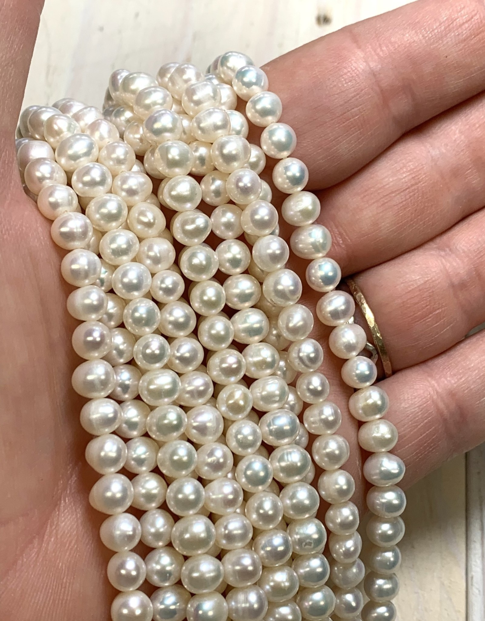6mm White Potato Pearl