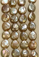12-15mm Coin Pearls White & Pink Strand