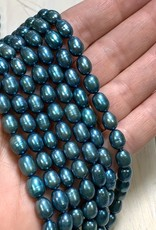 Rice Pearls Grey Teal Strand