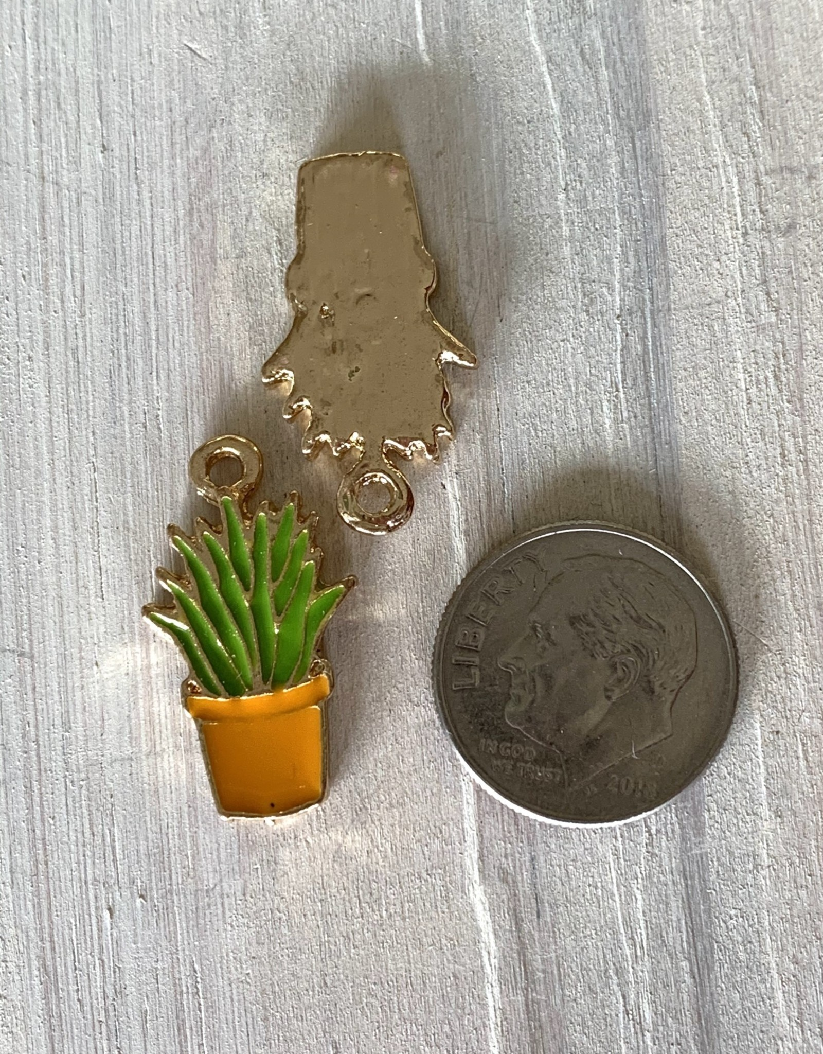 Mixed Plant Orange Pot Charm ea