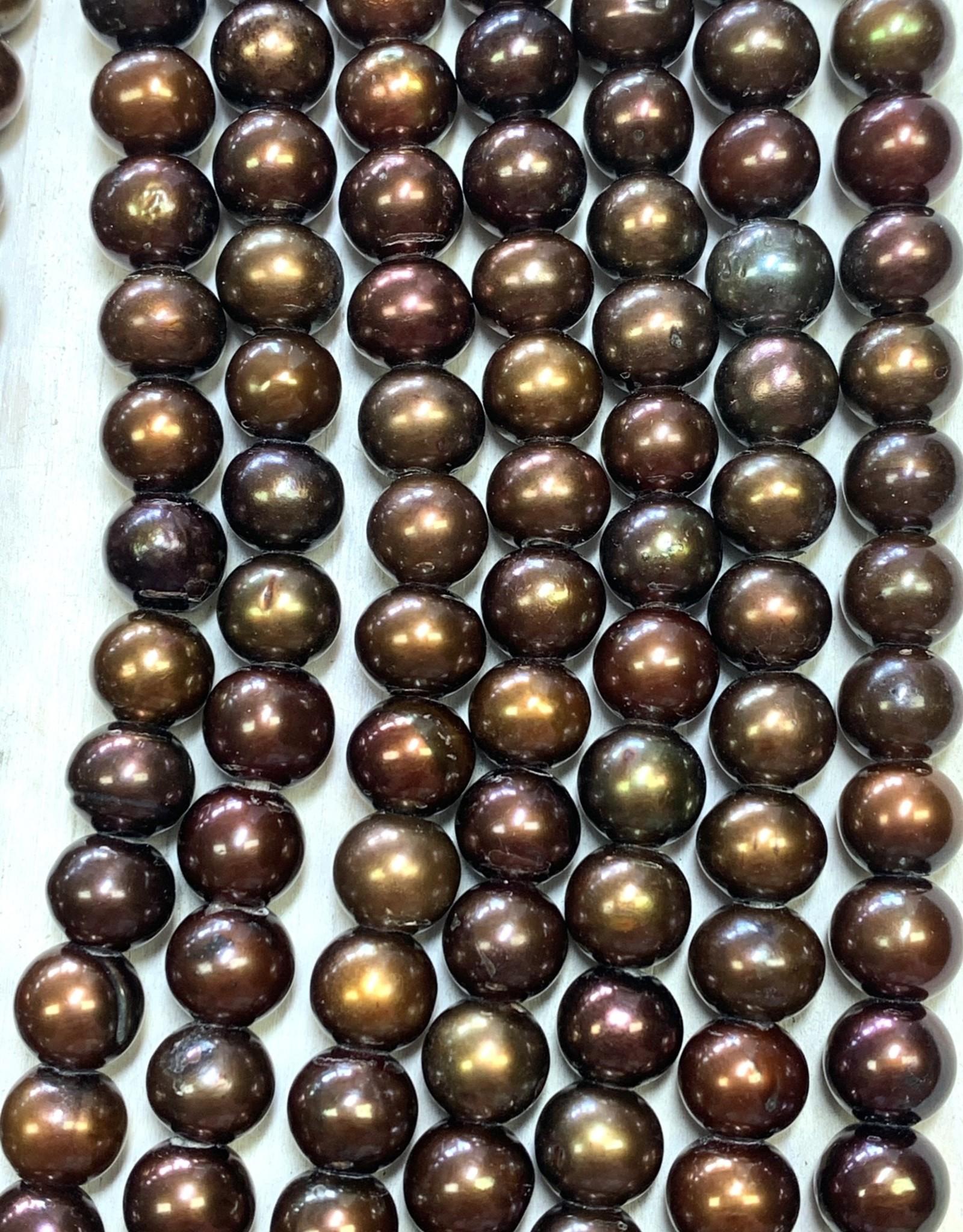 "6mm Pearls w/2mm ID Hole, Coffee 16"" Strand approx."