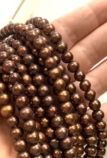 "6mm Pearls w/2mm ID Hole, Cinnamon 16"" Strand approx."