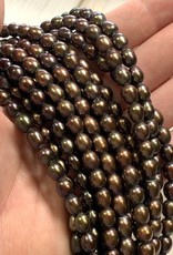 "7mm Coffee Brn Rice Pearls 2mm Large Hole 16"" Strand"