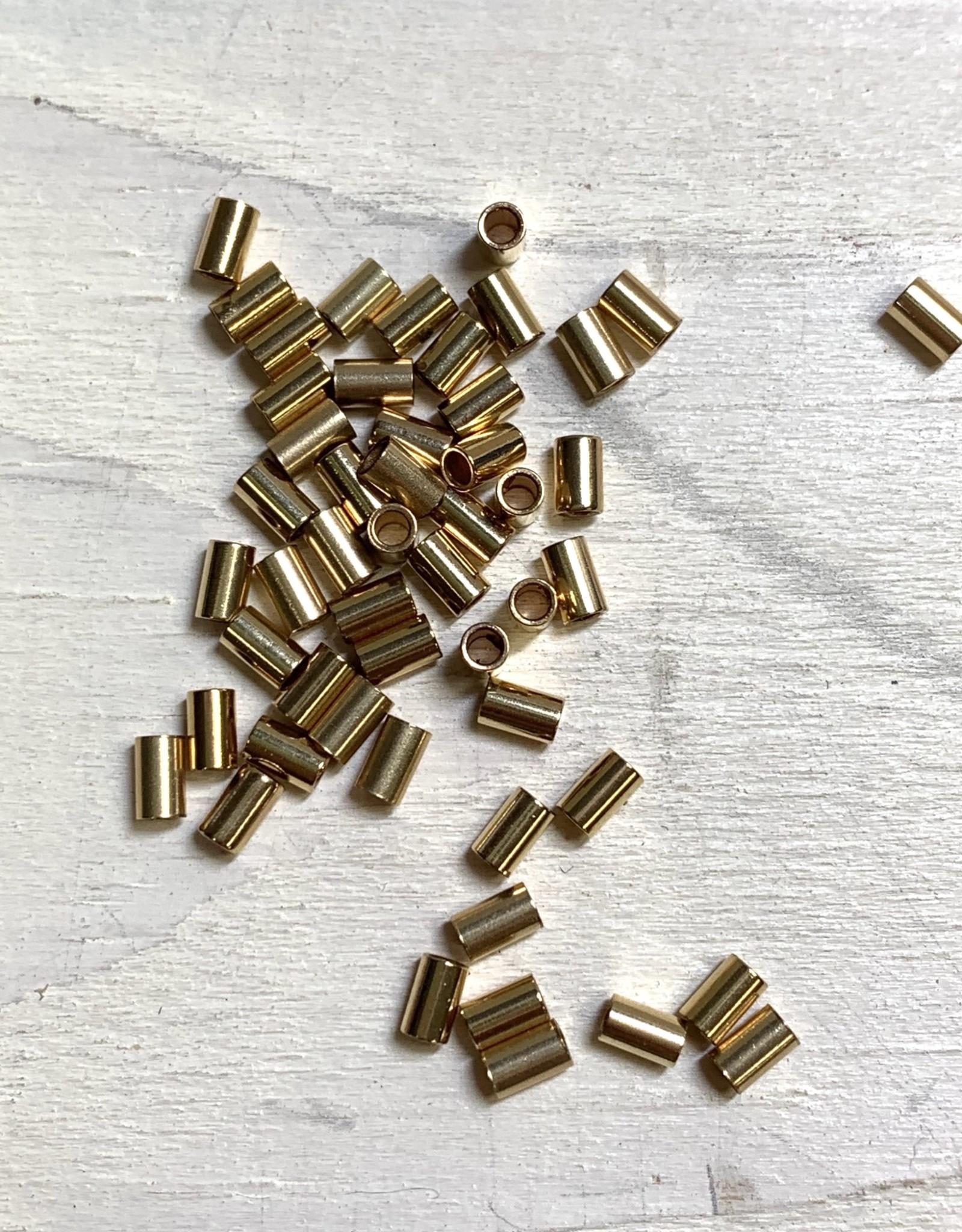 3x2mm Crimps, 14k Gold Filled Qty 50