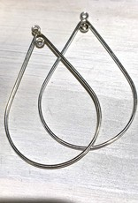 40mm Tear Drop Hoop Sterling Silver pair