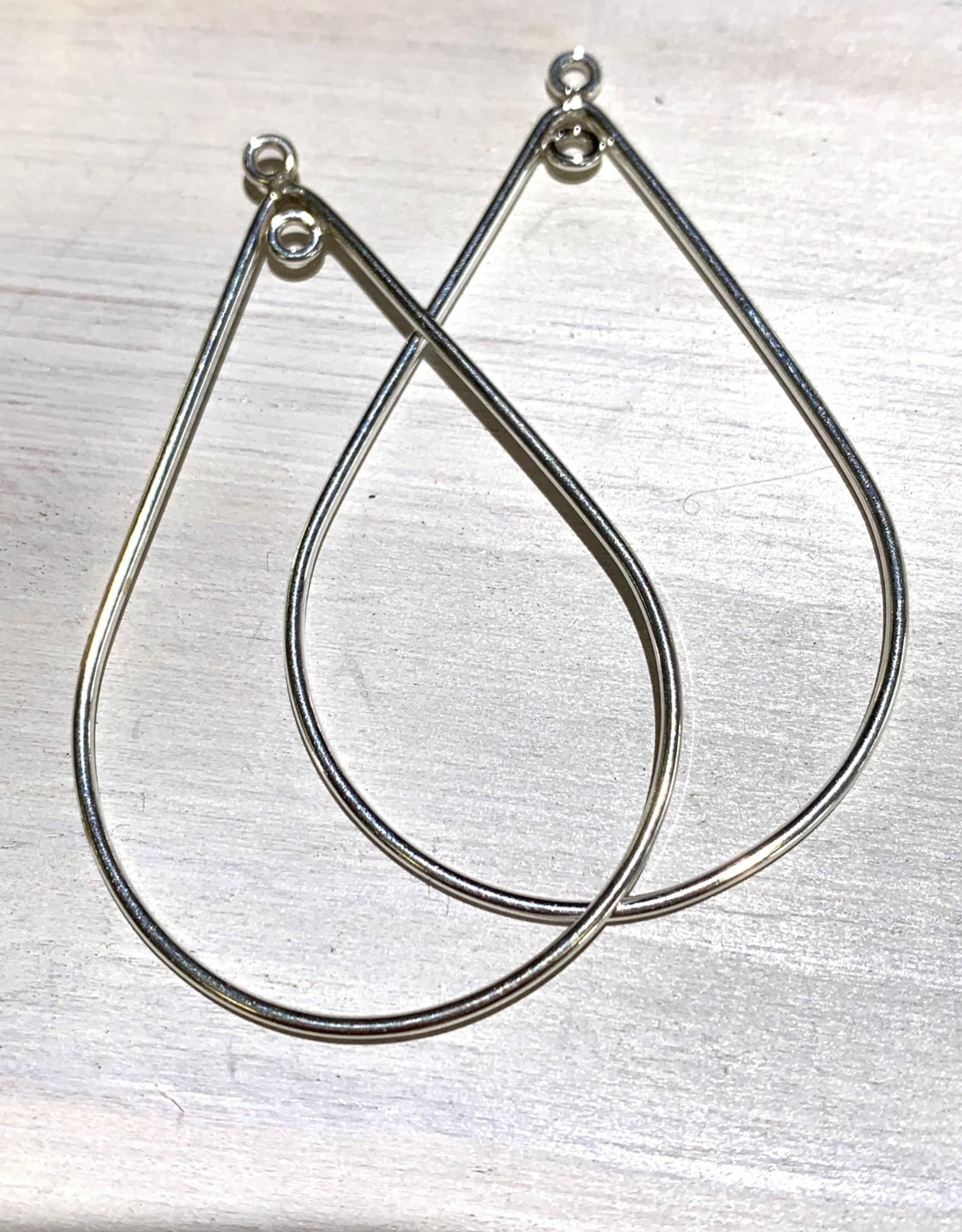 40mm Tear Drop Hoop Sterling Silver pair