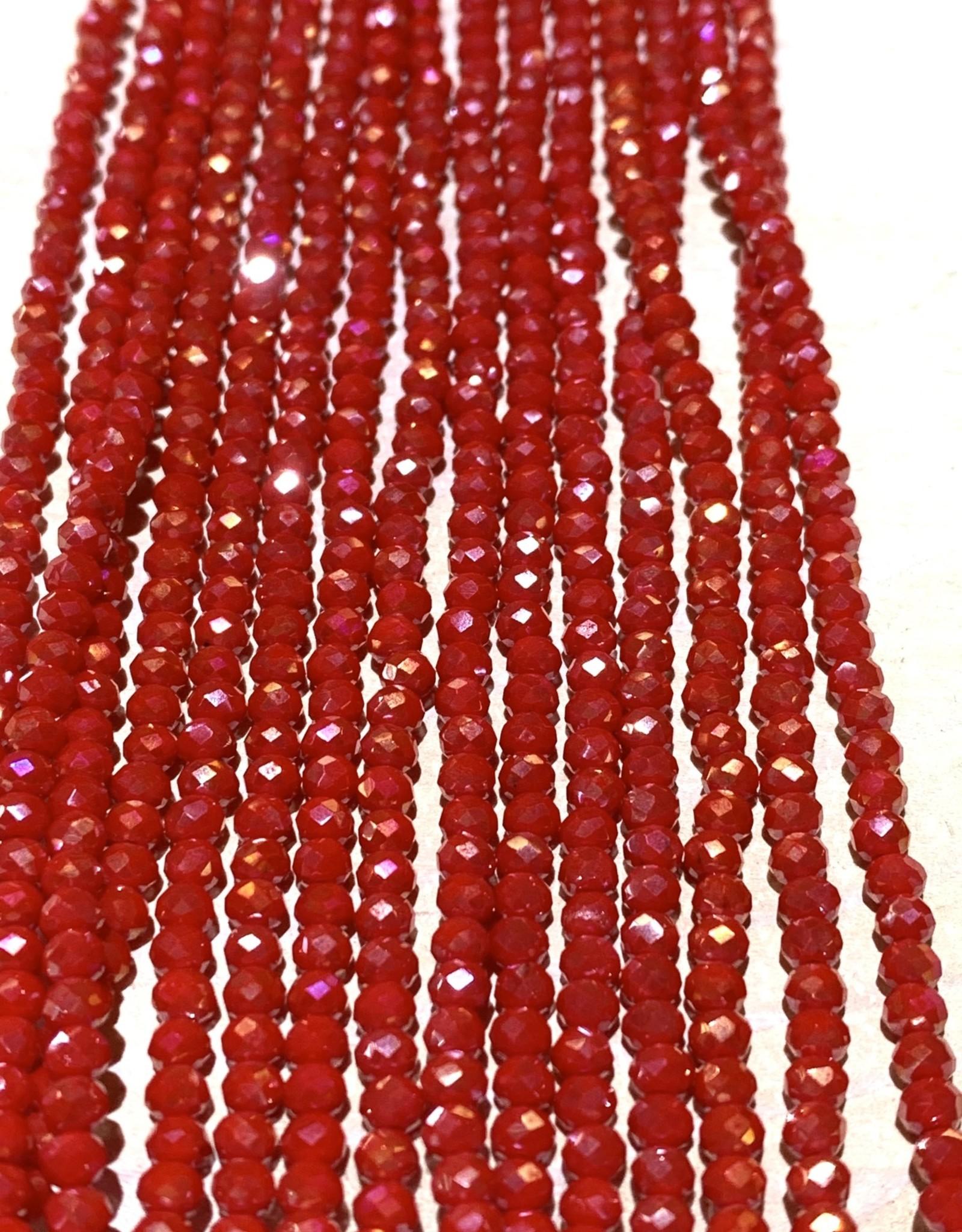 3mm Redish Pink Gem Show Crystal Roundel Strand
