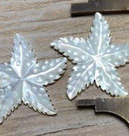 Bumpy Starfish White MOP Pair