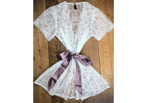 obsession bed jacket w/ silk waist sash