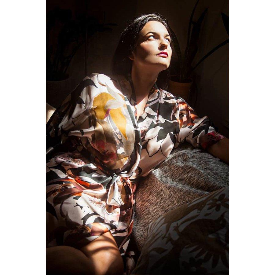 Silk Sedona Print Short Robe