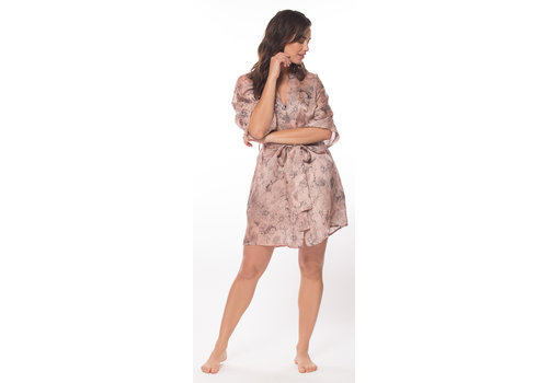 Silk Arabella Print Short Robe
