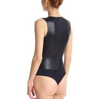 Faux Leather Deep-V Bodysuit