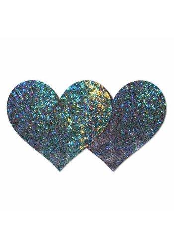 Gunmetal Hologram Heart Pasties