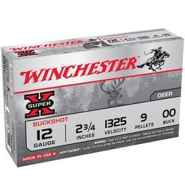 "Winchester Super X Buckshot XB1200, 12 Gauge, 2-3/4"", 9 Pellets, 1325 fps, #00 Buffered Lead Buckshot, 5 Rd/bx"
