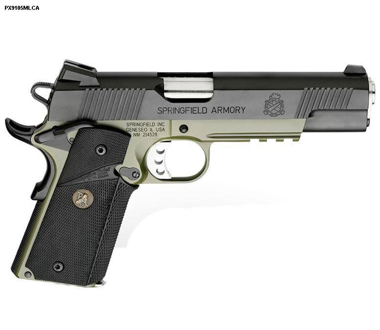 """Springfield Springfield Loaded Full Size MC Operator Pistol PX9105MLP, 45 ACP, 5"""", Pachmayr Wraparound Rubber Grips, Olive Drab & Black Armory Kote, Fixed Low Profile Combat Rear Dovetail Front Tritium Night Sights, 7 Rd"""