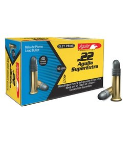 Aguila Standard Velocity Rifle Ammunition, 22 Long Rifle, Solid Lead Point, 40 GR, 1085 fps, 50 Rd/bx