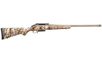 "Ruger, American Bolt-Action, 308 Winchester, 22"" Barrel w/Muzzle Brake, Cerakote Bronze Finish, Go Wild Camo Synthetic Stock, Scope Base, 3Rd"