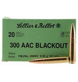 Sellier & Bellot 300BLKB Rifle 300 AAC Blackout 147 GR Full Metal Jacket 20 Bx/ 50 Cs