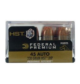 Federal P45HST2S Premium Personal Defense 45 Automatic Colt Pistol (ACP) 230 GR HST Jacket Hollow Point 20 Bx/ 10 Cs