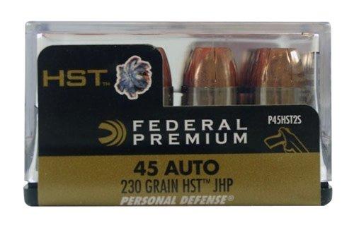 Federal P45HST2S Premium Personal Defense 45 Automatic Colt Pistol (ACP) 230 GR HST Jacket Hollow Point 20 Bx/ 10 Cs