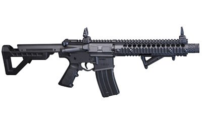 Daisy Crosman, DPMS SBR Full Auto BB Rifle, 430 Feet Per Second, 6 Position Adjustable Butt Stock, Blowback Action, 25 Dropout Mag, Flip Up Iron Sights, Angled Foregrip, Black Finish