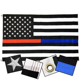 Thin Dual Line Flag Sewn & Embroidered 3x5'
