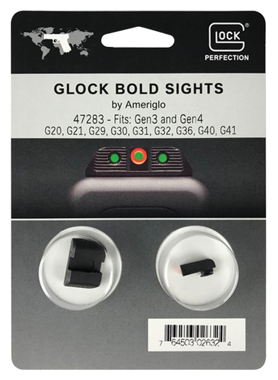 Glock 47283 Glock Bold Sights Glock 20/21/29/30/31/32/36/40/41 Gen 3,4 Green Tritium w/Orange Outline Tritium Green Black