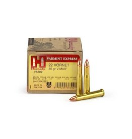 Hornady Varmint Express V-Max CF Rifle Ammunition 8302, 22 Hornet, V-Max, 35 GR, 3100 fps, 25 Rd/bx