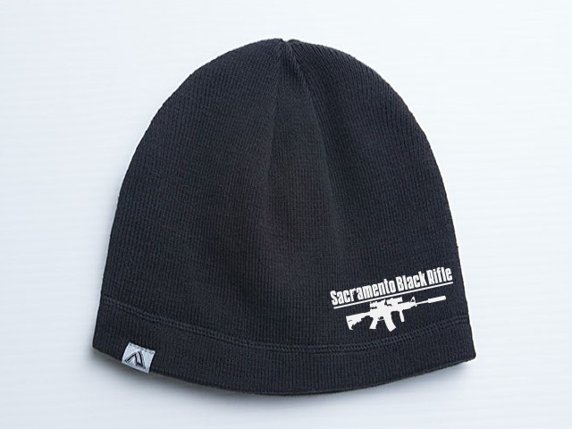 SBR, Black Beanie, Black and White Logo