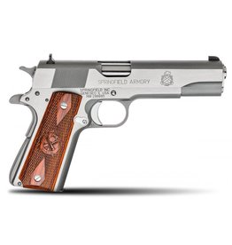 "Springfield Springfield MilSpec Full Size Stainless Pistol PB9151LP, 45 ACP, 5"", Cocobolo Wood Grips, Stainless Finish, Fixed Combat Sights, 7 Rd"