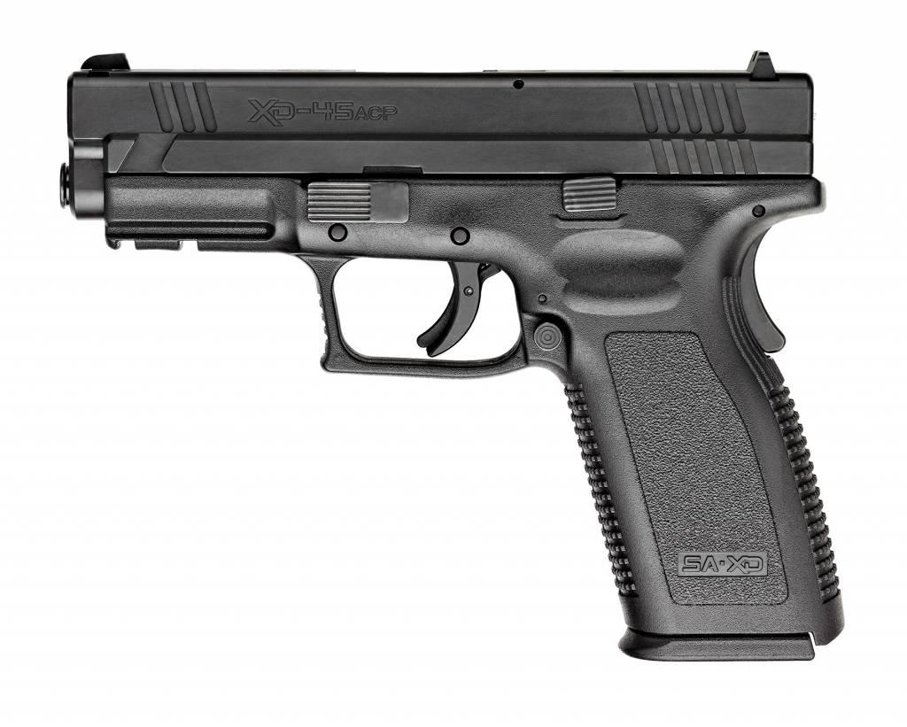 "Springfield Springfield XD-45 Essential XD9611, 45 ACP, 4"", Checkered Polymer Grip, Black Slide/Black Frame"