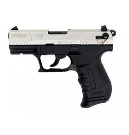 "Walther P22 Semi Auto Pistol, 22 LR, 3.4"", Nickel Finish, Black  Polymer Grip, 10 Rd"