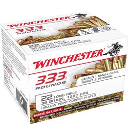 Winchester Rimfire Ammunition 22LR333HP, 22 LR, Copper Plated HP, 36 GR, 1280 fps, 333 Rd Box