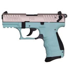 "Walther P22 Semi Auto Pistol Angel Blue WA5120362, 22 LR, 3.4"", Angel Blue Polymer Grip, Stainless Finish, 10 Rd"
