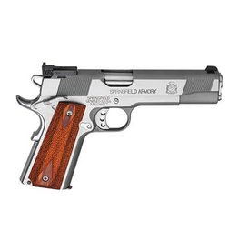 """Springfield Springfield 1911 Loaded Full Size Stainless Steel Target Pistol PI9134LP, 9 MM, 5"""", Cocobolo Wood Grips, Stainless Finish, Low Profile Adjustable Rear Dovetail Front Target Sights, 9 Rd"""