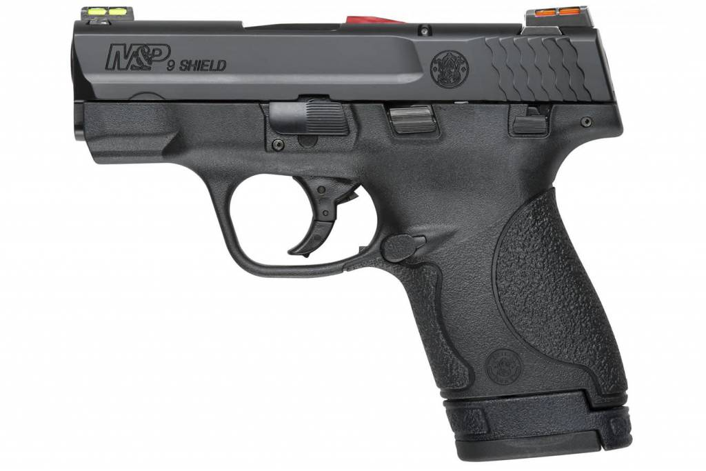 "Smith & Wesson Smith & Wesson M&P 9 Shield Pistol Hi VIz 11905, 9 MM, 3.1"", Polymer Grip, Black Finish, 7 Rd & 8 Rd, CA Legal"