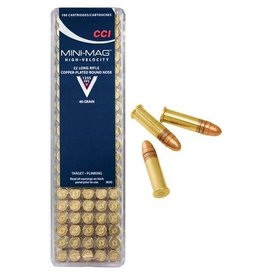 CCI Mini-Mag HV Rimfire Ammunition 0030, 22 Long Rifle, Round Nose, 40 GR, 1235 fps, 100 Rd/bx