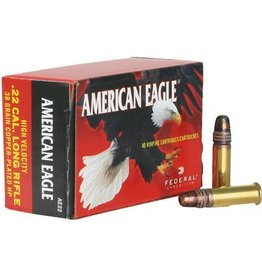Federal American Eagle Rimfire Ammunition AE22, 22 Long Rifle, Copper Plated HP, 38 GR, 1260 fps, 40 Rd/bx
