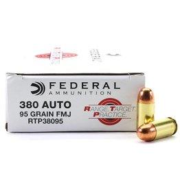 Federal Range Target Practice Handgun Ammunition RTP38095, .380ACP, Full Metal Jacket, 95 Gr, 50 Rd/bx