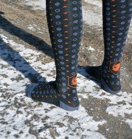 Tall Wool Sock: Charcoal/Orange/Gray